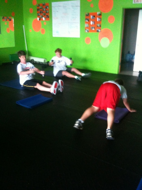 baseball and soccer 14-15yr olds getting some core training
