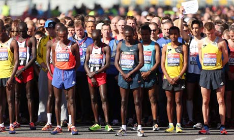 London marathon runners at the start line